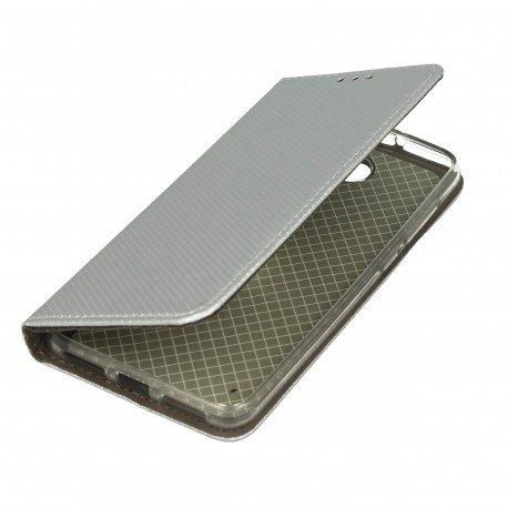 Etui boczne z klapką magnet book Huawei Y6 II Compact srebrny