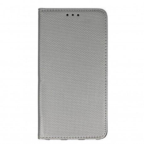 Etui boczne z klapką magnet book Huawei Y6 II srebrny