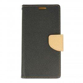 Etui portfelowe Fancy na telefon Huawei P10 Lite czarno-złoty