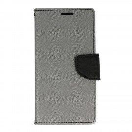 Etui portfelowe Fancy na telefon Huawei P10 Lite srebrno-czarny
