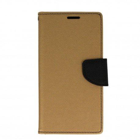Etui portfelowe Fancy na telefon Huawei P10 Lite złoto-czarny