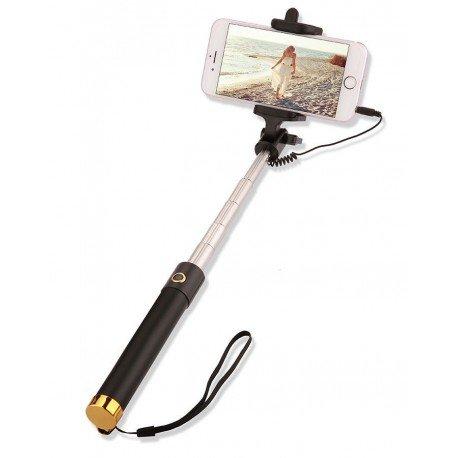 Uniwersalny Uchwyt selfie stick z pilotem w rączce do telefonu złoty
