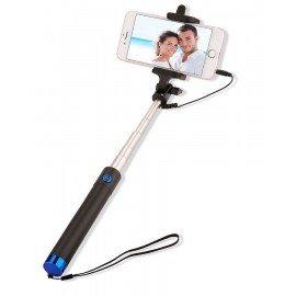 Uniwersalny Uchwyt selfie stick z pilotem w rączce do telefonu niebieski