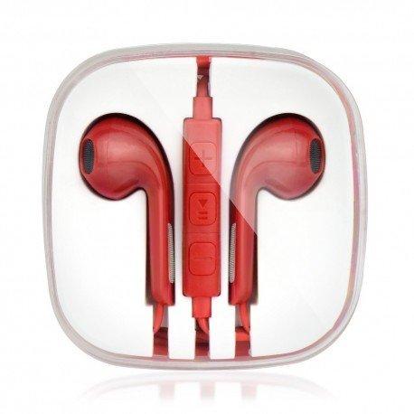 Słuchawki BOX z mikrofonem do telefonu czerwone