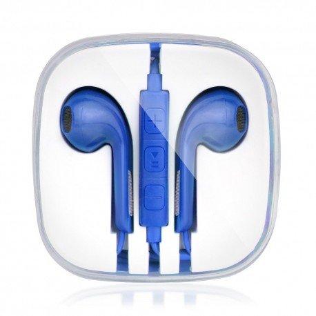 Słuchawki BOX z mikrofonem do telefonu niebieski