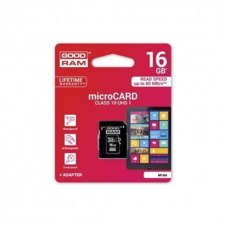 Karta pamięci microSD + adapter GOODRAM 16GB 10 class do telefonu