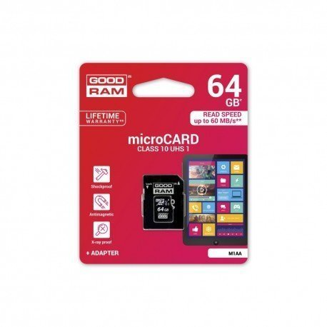 Karta pamięci microSD + adapter GOODRAM 64GB 10 class do telefonu