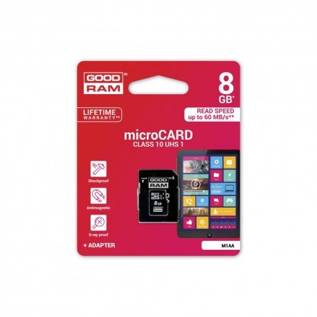 Karta pamięci microSD + adapter GOODRAM 8GB 10 class do telefonu