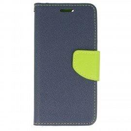Etui portfelowe Fancy na telefon iPhone 6 granatowo-limonkowy