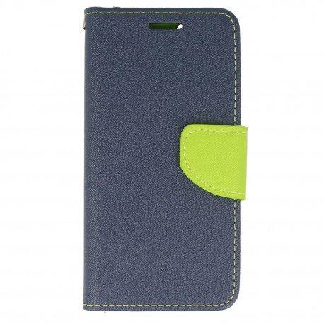 Etui portfelowe Fancy na telefon iPhone 6S granatowo-limonkowy