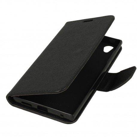 Etui portfelowe Fancy na telefon Sony Xperia L1 czarny