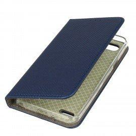 Etui boczne z klapką magnet book LG Q6 granatowy