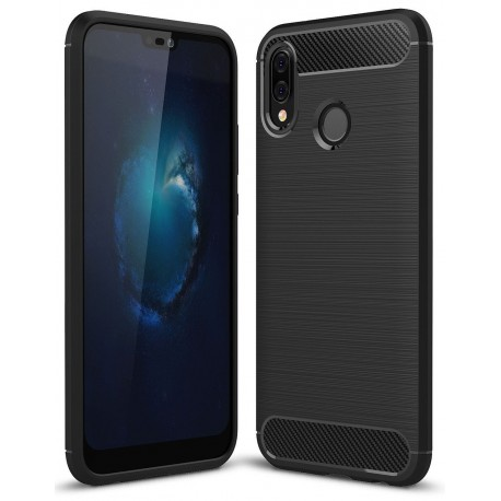 Etui na telefon silikon Carbon Case czarny do Huawei P20 Lite