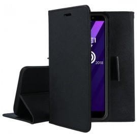 Pokrowiec Etui portfelowe Fancy czarny na telefon Huawei Y6 2018