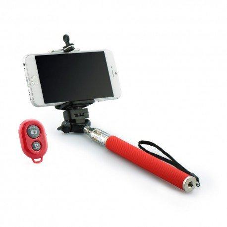 Kij selfie stick uchwyt do telefonu z pilotem bluetooth czerwony