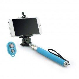 Kij selfie stick uchwyt do telefonu z pilotem bluetooth niebieski