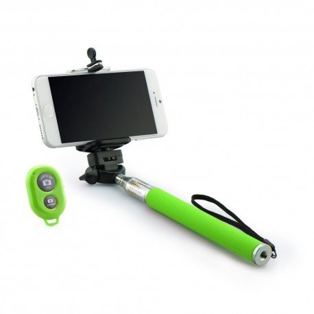 Kij selfie stick uchwyt do telefonu z pilotem bluetooth zielony